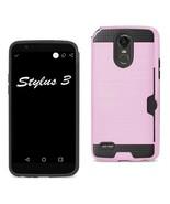 Reiko Lg Stylo 3/ Stylus 3 Slim Armor Hybrid Case With Card Holder In Pi... - $8.54