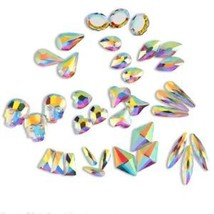 20 50 100pcs 3D Nail Art Rhinestones Flat Shaped Elongated Glass Colorfu... - $7.99