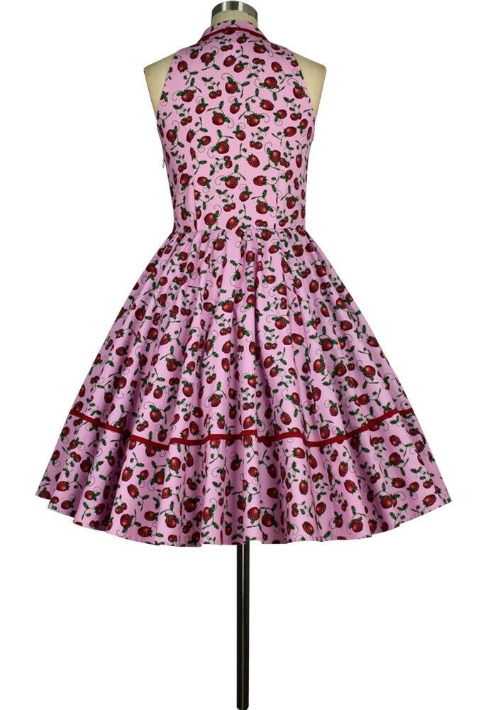 Pink Red Strawberry Rockabilly Retro 1950s Swing Dress Vintage 50s Pin Up Party
