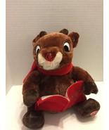 Dandee Animated Rudolph Holding Book Head Mouth Moves Nose Lights Up - $14.01