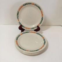 "6 Salad Plates Hibiscus Corelle 7.25"" Peach Blue Green  - $14.50"