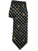 Looney Tunes Tasmanian Devil Men's Tie Necktie Black w/ White Gray Dots - $12.86