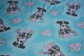 Vintage 90s Cute Valentine Dog Twin Bed Flat Sheet Cotton Fabric For OOA... - $24.00