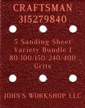 CRAFTSMAN 315279840 - 80/100/150/240/400 Grits - 5 Sandpaper Variety Bundle I - $7.53