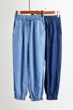 Dark Blue Denim CROP PANTS Drawstring Elastic Waisted Crop HAREM PANTS Trousers image 7