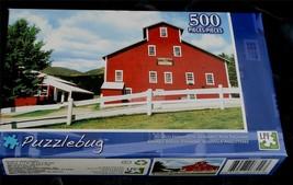 BRAND NEW FACTORY SEALED 500 PiecePuzzlebug Jigsaw Puzzle Big Red Farmhouse - $5.93
