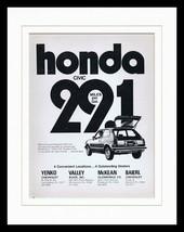 1973 Pittsburgh Honda Civic Dealers Framed 11x14 ORIGINAL Vintage Advert... - $37.04