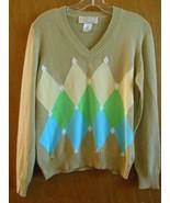 Debra C Beverly Hills Beige V Neck Med Lge Harlequin Pattern Long Sleeve... - $27.80