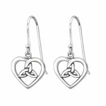 925 Sterling Silver Trinity Knot Heart Dangle Earrings for Women Kid in Gift Box - $16.15