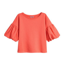 NEW H&M Coral Balloon-Sleeve Knit Sweatshirt Top Pullover 100% Cotton M - $12.86