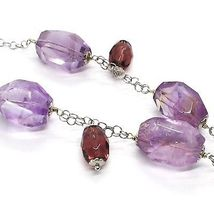 Silver necklace 925, FLUORITE OVAL Faceted Purple Cluster Pendant image 5