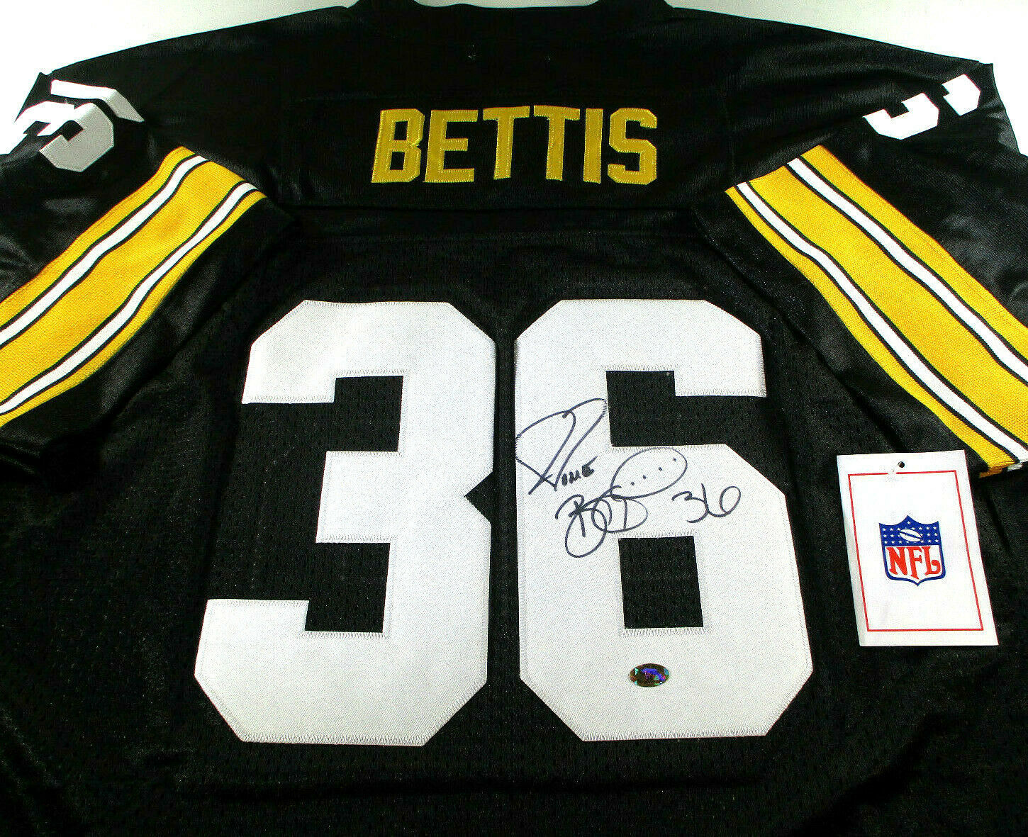 JEROME BETTIS / AUTOGRAPHED PITTSBURGH STEELERS THROWBACK JERSEY / BUS HOLO