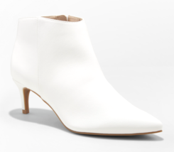 A New Day Women's White Dominique Pointed Kitten Heel Booties NEW w Tags