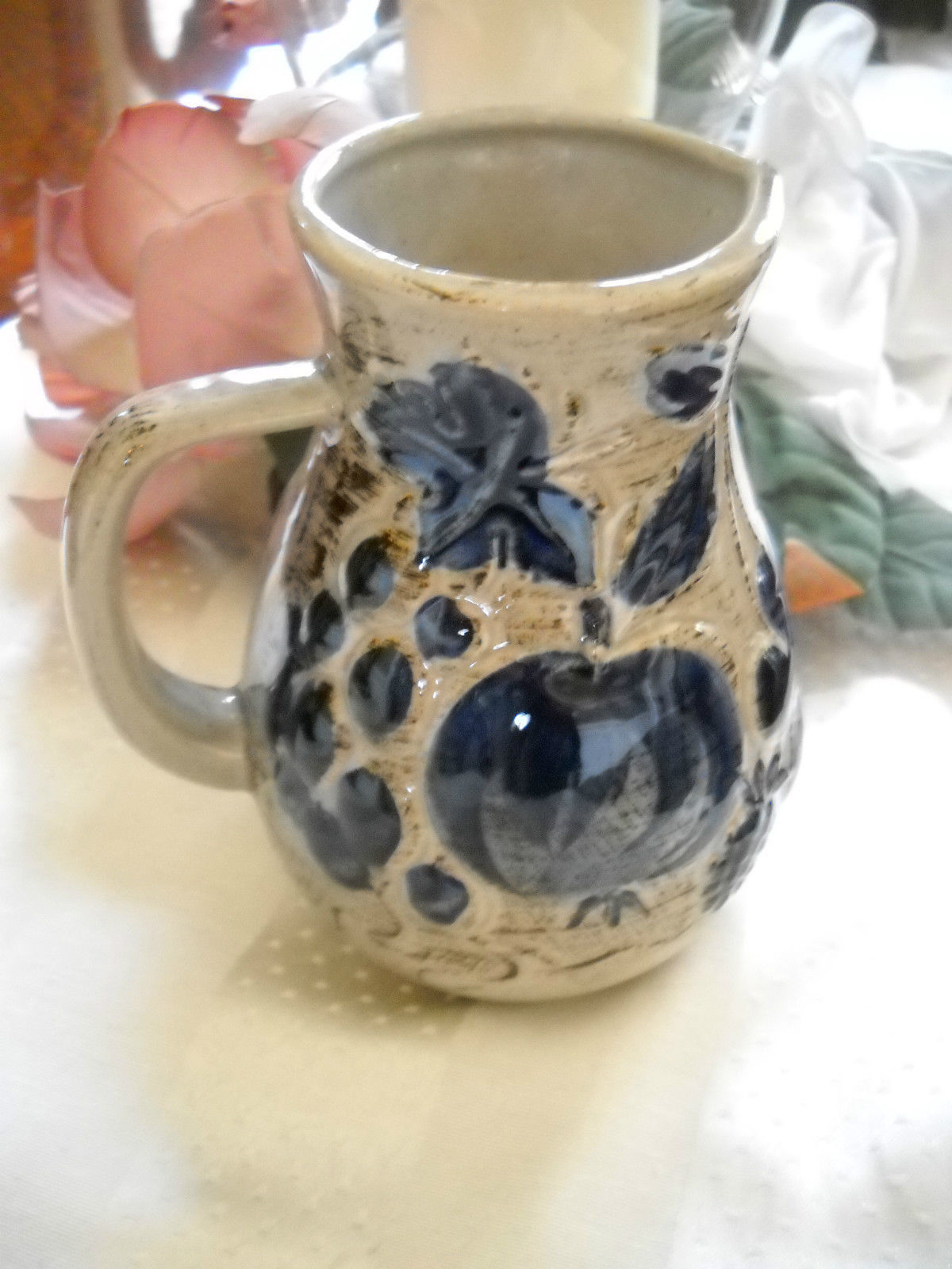 VINTAGE Made in West Germany Fruit Pattern Pitcher Creamer Blue 419-14 Collector