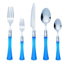 Bon Jewel 20-Piece Stainless Steel Flatware Silverware Cutlery Set - Blu... - $18.23