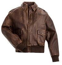 A2 Navy Flight Men Distressed Brown Genuine Leather Aviator Bomber Jacket image 1
