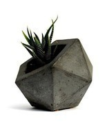Geodesic Concrete Planter Flower Pot Handmade Home & Garden Decor 2 Colors Avail - $27.99