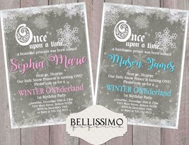 winter Onederland Birthday Invitation 1st birthday Snowflake Personalized - £7.21 GBP