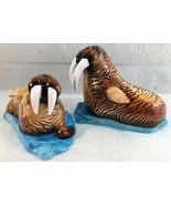 """Salt and Pepper Shakers SDD Walrus on Ice 4 1/2"""" x 3 1/2"""" Brown w/Blue Eyes - $34.65"""