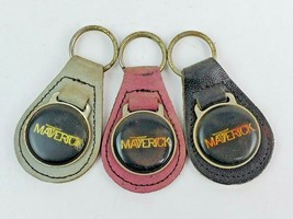 Lot of 3 Vintage Ford Maverick Logo Leather Keychain KeyRing FOB Tab - $20.19