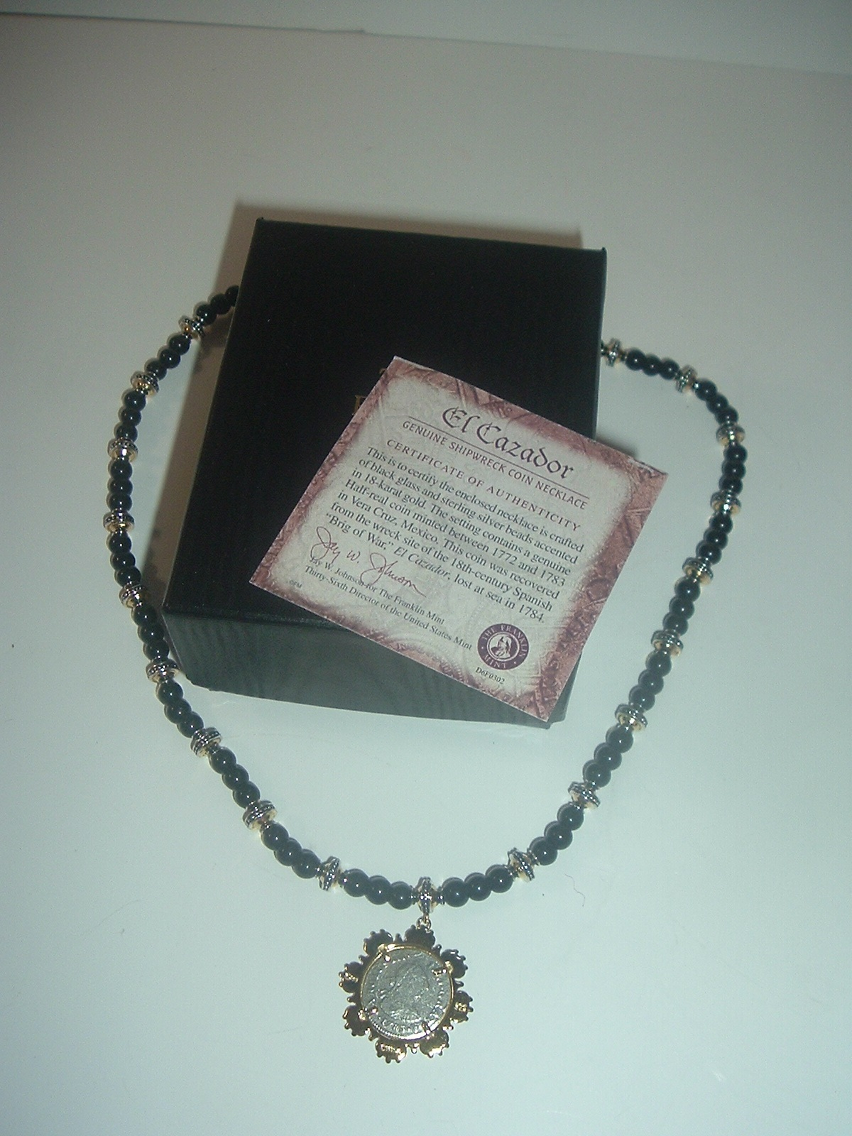 Primary image for Franklin Mint El Cazador Shipwreck Coin Necklace w Box COA