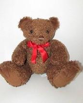 First & Main brown teddy bear plush Tucker 1715 red neck bow ribbon felt... - $9.89