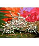 Vintage Ballerina Ballet Dancers Brooch Pin Rhinestones Scatter Set 3 - $44.95