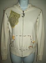 Joy Jeans Girls Size M Hooded Sweatshirt Jacket White Bling Owl Tree Zip... - $19.79