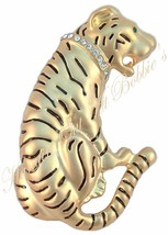 Tiger Cat Pin Brooch Cat Clear Crystal Collar Green Eye Brass Tone Metal - $16.99
