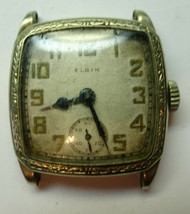 Elgin ART DECO ORNATE WGOLD FILLED CASE WATCH FOR restoration OR TRENCH ... - $169.32