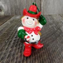 Vintage Cowboy Snowman Hallmark Keepsake Christmas Tree Ornament 1982 - $39.99