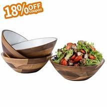 7-Inch Acacia Wooden Salad Bowls - Set of 4 Bowls for Cereal Fruit Pasta... - $40.99