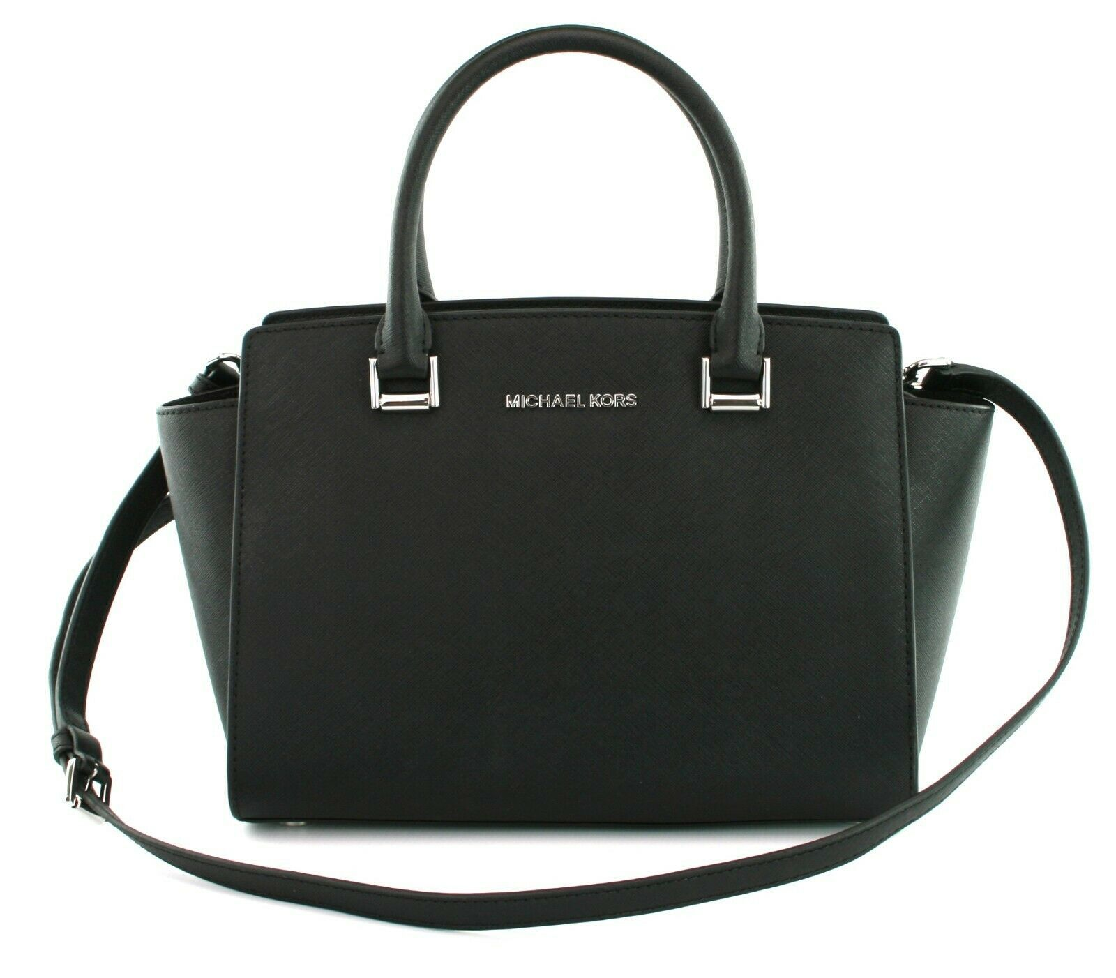 Michael Kors Selma Satchel Bag Saffiano Leather Black Small Handbag RRP £225
