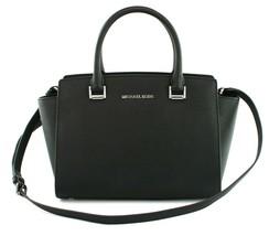 Michael Kors Selma Satchel Bag Saffiano Leather Black Small Handbag RRP ... - $272.73