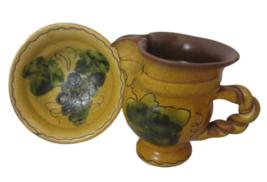 Vintage Made in Liechtenstein souvenir miniature bowl pitcher terracotta... - $17.99