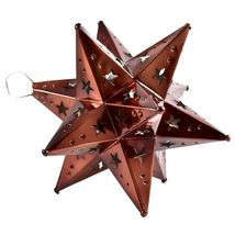 """Small 6.5"""" Hanging Tin Antiqued Brown Mexican Moravian Star Ornament Decoration image 3"""
