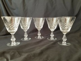 Fostoria Set of 5 Swirl Pattern Water Goblets - $36.05