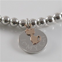 925 RHODIUM SILVER JACK&CO BRACELET WITH 9KT ROSE GOLD CAT KITTEN  MADE IN ITALY image 2