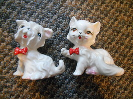 Old Vintage / Antique Matching Kitty Cat & Puppy Dog Figurines Polka Dot... - $19.99