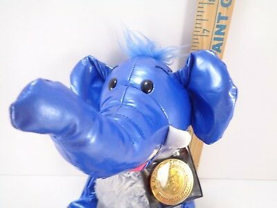 Tubular Blue Elephant Kamar Skoodlez 2008 beanbag plush With Sealed Coin