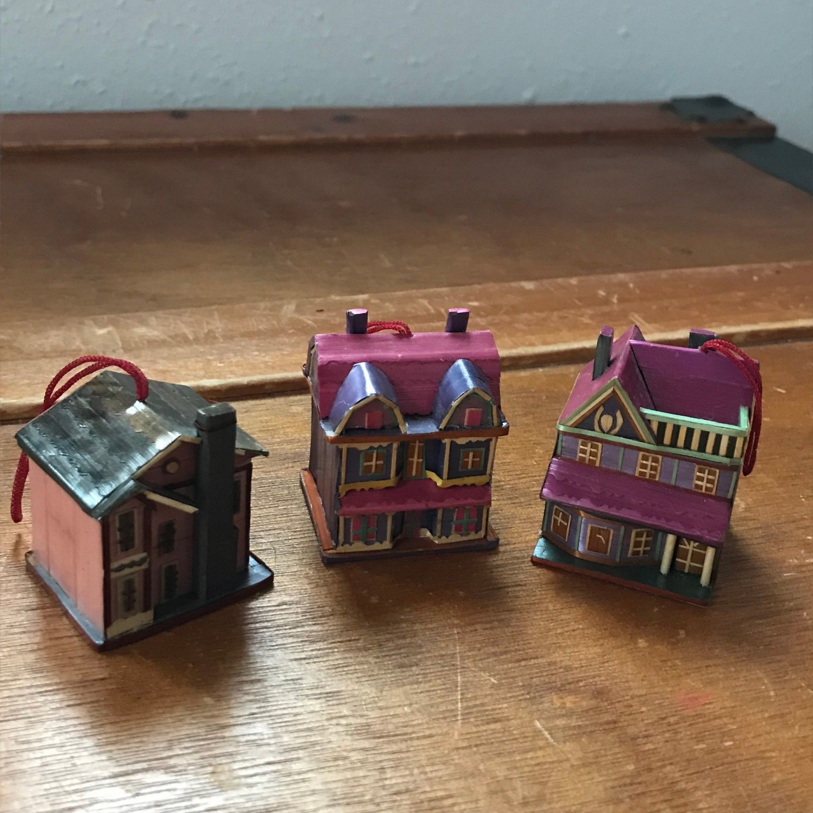 Estate Lot of 3 Mini Miniature Detailed Paper Covered Wood House Mansion Christm