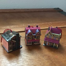 Estate Lot of 3 Mini Miniature Detailed Paper Covered Wood House Mansion... - $9.49