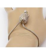 925 Sterling Silver - Vintage Etched Hollow Detail Snake Chain Bracelet ... - $89.29