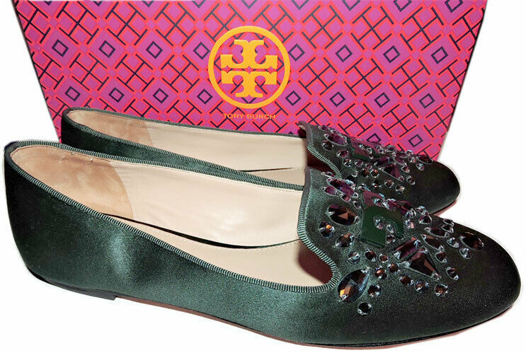 Tory Burch Delphine Crystals Loafers Slip On Green Satin Flats Shoes 10 Moccasin