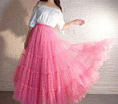 Hot Pink Tiered Tulle Skirt Plus Size Floral Hot Pink Floor Length Tulle Skirt  image 1