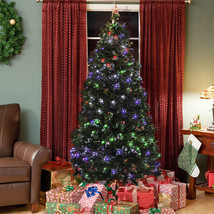 Pre-Lit Fiber Optic 7' Green Artificial Christmas Tree with LED Multicolor Light - $169.99