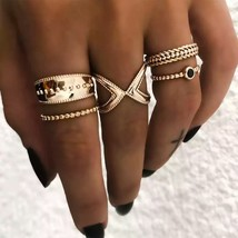 5PCS/Set Punk Vintage knuckle Rings for Women Turkish Indian Jewelry Gold Color  - $9.66
