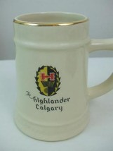 The Highlander Calgary Logo Stein Beer Mug Cream Color Ceramic 22K Gold ... - $29.65