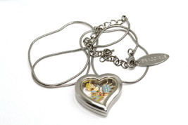Bracciale Disney Heart Locket Silver Necklace Floating Cinderella Princess Charm - $24.74