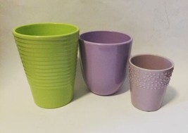 Lot 3 New Pastel Flower Plant Pot Made in Germany Green Lavender Purple - $40.35 CAD